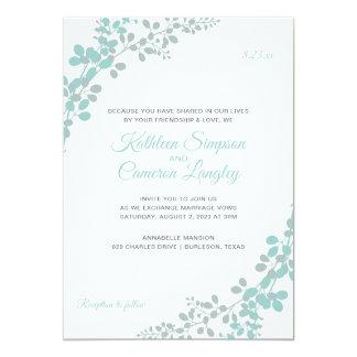 Exquisite Vines Invitation | Light Turquoise -Gray