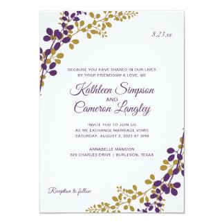 Exquisite Vines Invitation- Plum & Gold Card