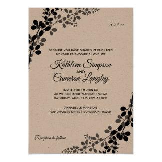 Exquisite Vines Wedding Invitation- Black on Kraft Card