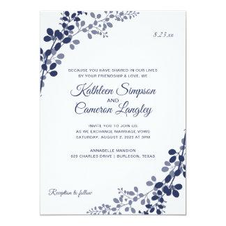 Exquisite Vines Wedding Invitation | Navy Blue