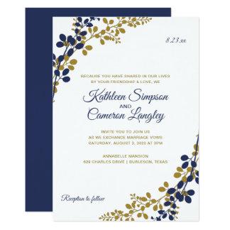Exquisite Vines Wedding Invitation | Navy & Gold