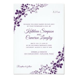 Exquisite Vines Wedding Invitation- Plum / Purple Card