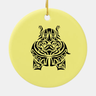 Exquisitely Playful Tribal Tattoos Ceramic Ornament