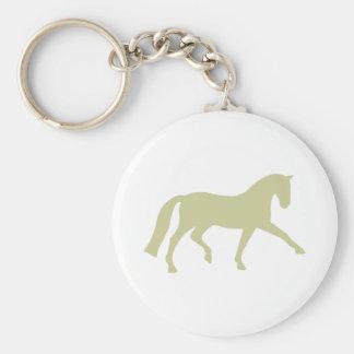 Extended Trot Dressage Horse (sage green) Basic Round Button Keychain