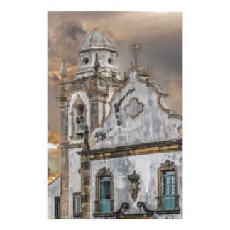 Exterior Facade Antique Colonial Church Olinda Personalized Stationery