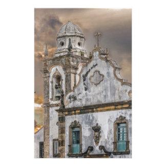Exterior Facade Antique Colonial Church Olinda Stationery