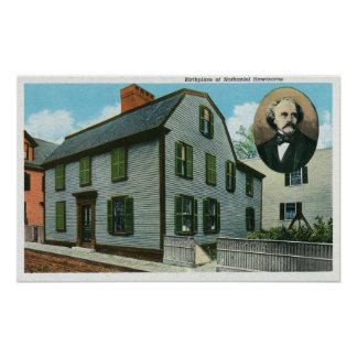 Exterior View of Nathaniel Hawthorne's Poster