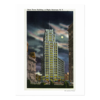 Exterior View of State Tower Building at Night Postcard