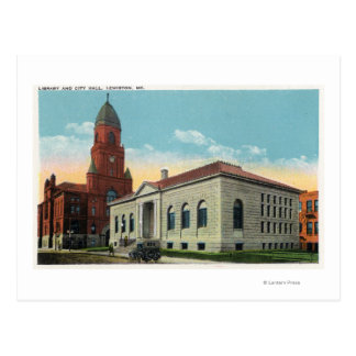 Exterior View of the Library and City Hall Postcard