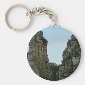 Externsteine in twilight basic round button keychain