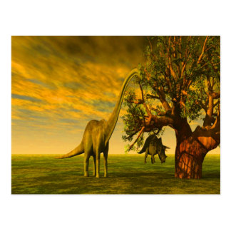 extinct brontosaurus dinosaur postcard