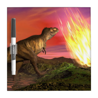 Extinction of dinosaurs - 3D render Dry Erase Board