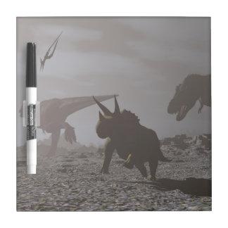 Extinction of dinosaurs - 3D render Dry Erase Board