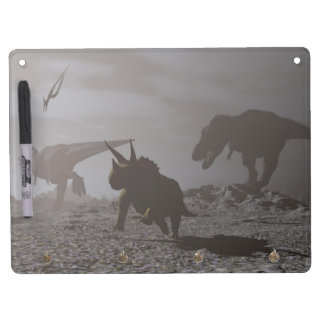 Extinction of dinosaurs - 3D render Dry Erase Board With Keychain Holder