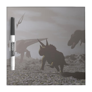 Extinction of dinosaurs - 3D render Dry Erase White Board