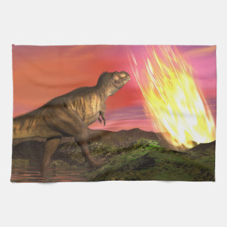 Extinction of dinosaurs - 3D render Hand Towels