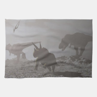 Extinction of dinosaurs - 3D render Kitchen Towel