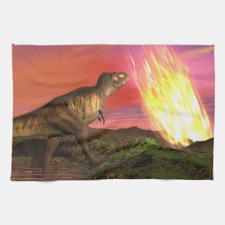 Extinction of dinosaurs - 3D render Kitchen Towels