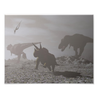 Extinction of dinosaurs - 3D render Photo Print
