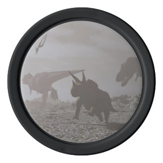 Extinction of dinosaurs - 3D render Poker Chips