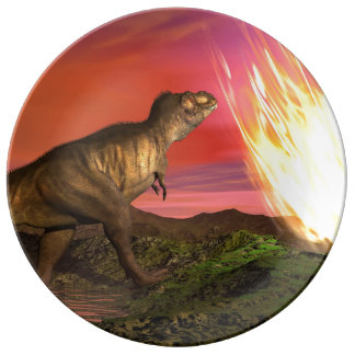 Extinction of dinosaurs - 3D render Porcelain Plates