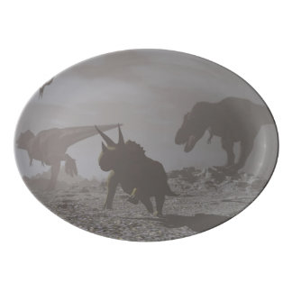 Extinction of dinosaurs - 3D render Porcelain Serving Platter