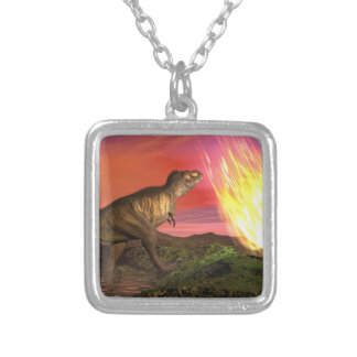 Extinction of dinosaurs - 3D render Silver Plated Necklace