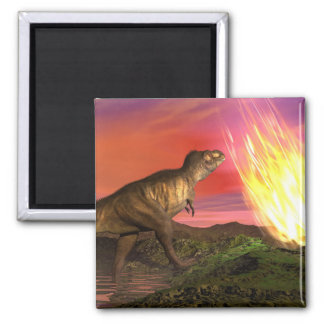 Extinction of dinosaurs - 3D render Square Magnet