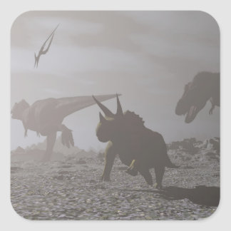 Extinction of dinosaurs - 3D render Square Sticker
