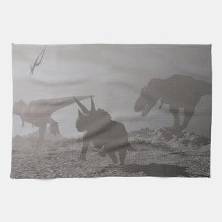 Extinction of dinosaurs - 3D render Towels