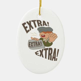 Extra Extra Ceramic Ornament
