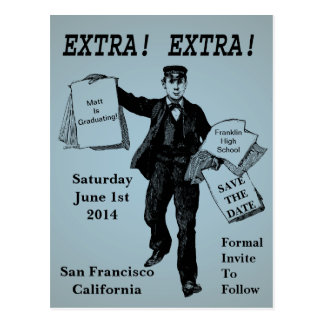 Extra! Extra! Vintage Newspaper Save The Date Postcard