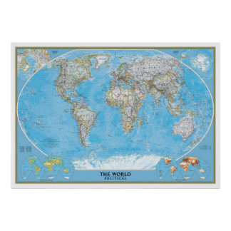 Extra Large Political World Map poster print