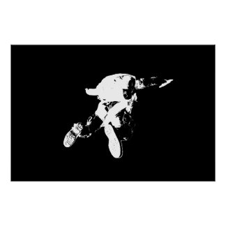 Extra Large Print Black & White Skydiver