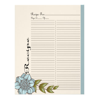 Extra Recipe Page for Blue Rose Recipe Binder - 3B