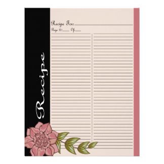 Extra Recipe Page for Pink Rose Recipe Binder - 1C