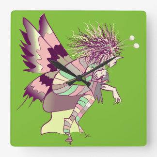 Extraordinary Male Butterfly Cartoon Green Bright Wall Clocks