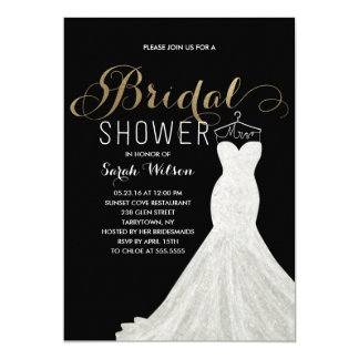 "Extravagant Dress Gold Custom Color| Bridal Shower 5"" X 7"" Invitation Card"