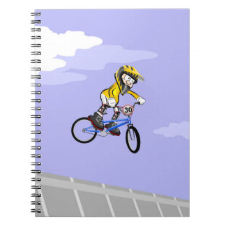 Extreme bicycle BMX pirouettes in the air Spiral Notebook
