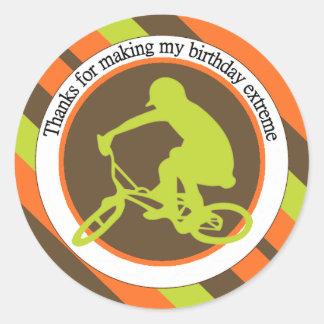 Extreme Biking Birthday Round Sticker