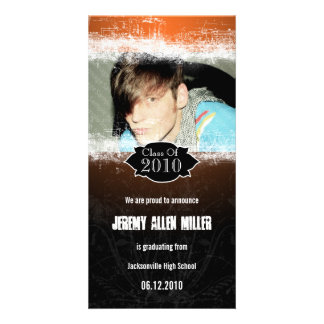Extreme Grunge Orange Black Graduation Photo Card
