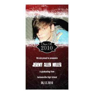 Extreme Grunge Red Black Graduation Photo Card