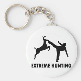 Extreme Hunting Deer Karate Kick Basic Round Button Keychain