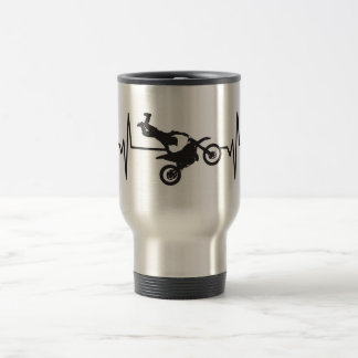 Extreme Motorcycle Stunt - Heartbeat Pulse Travel Mug