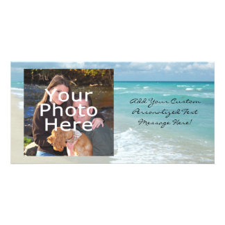 Extreme Relaxation Beach View White Sand Customized Photo Card