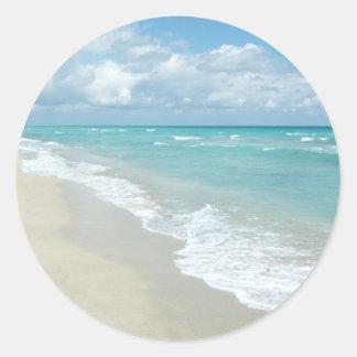 Extreme Relaxation Beach View White Sand Round Sticker