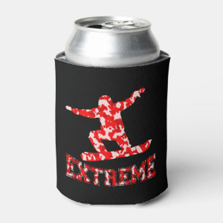 EXTREME Snowboarder 1 RED CAMO Can Cooler