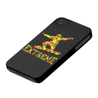 EXTREME SNOWBOARDER IN RED, GREEN, AND YELLOW CAMO Case-Mate iPhone 4 CASES