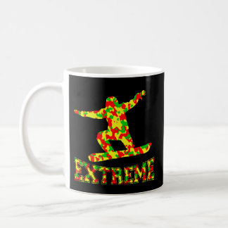 EXTREME SNOWBOARDER IN RED, GREEN, AND YELLOW CAMO COFFEE MUG
