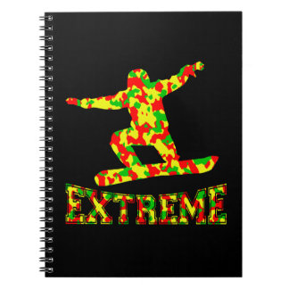 EXTREME SNOWBOARDER IN RED, GREEN, AND YELLOW CAMO NOTEBOOKS